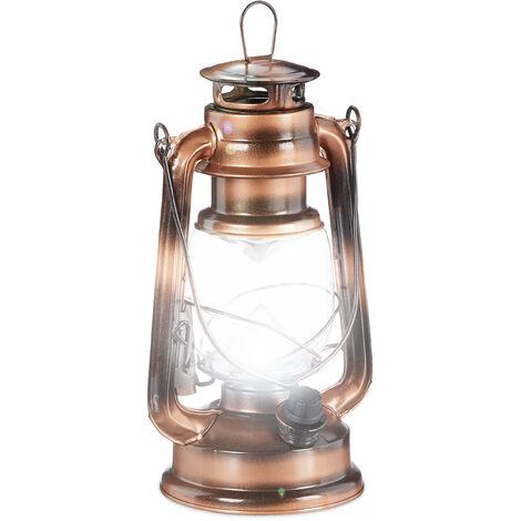 Lanterne tempête LED, Lampe retro comme décoration de fenêtre ou lampe jardin, à piles, cuivrée