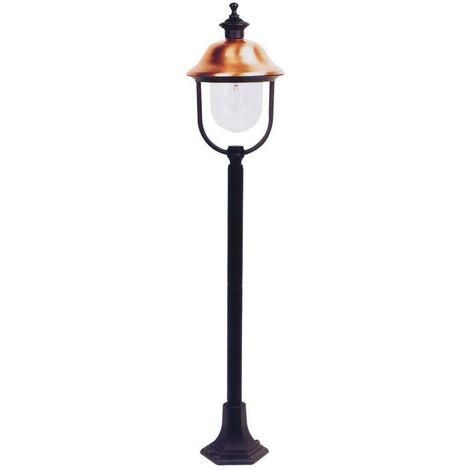 Lampada Lanterne Su Piantana Da Giardino Mod Verona Copertura Ramata H.120cm.