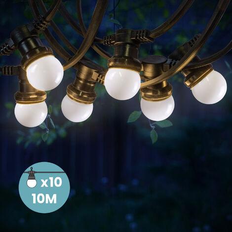 Lanterne Volante Guirlande Lumineuse Extérieur Bleu Blanc Rouge 10 m Cable Blanc - Blanc