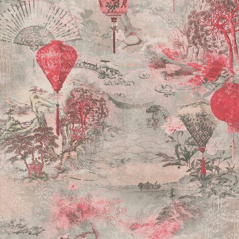 Lanterns Asian Fusion Wallpaper Pink Red Grey AS Creation
