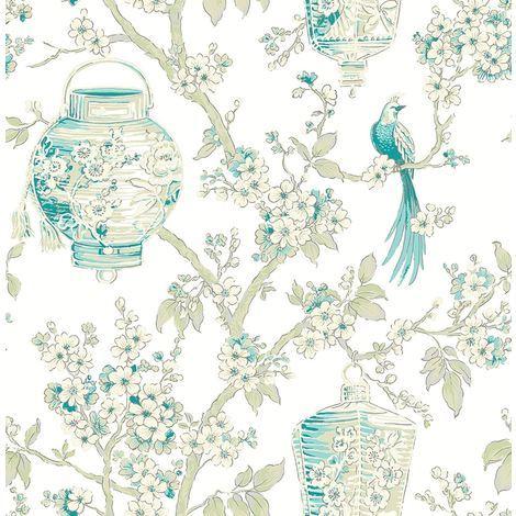 Lanterns Flower Bird Oriental Wallpaper Mirabelle A Street Prints Paste The Wall
