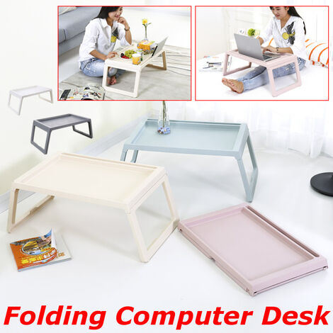 Laptop Lap Folding Desk Laptop Computer Table Sofa Laptop Breakfast Tray Bed (Pink)