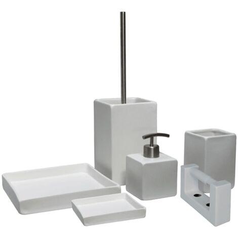 L'Aqua 6 Piece Bathroom Accessory Set Square White Ceramic