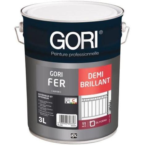 Laque antirouille et décoration glycéro demi-brillante GORIFER FONCE, noir 9005, bidon de 3 litres - Noir RAL 9005 - Noir RAL 9005