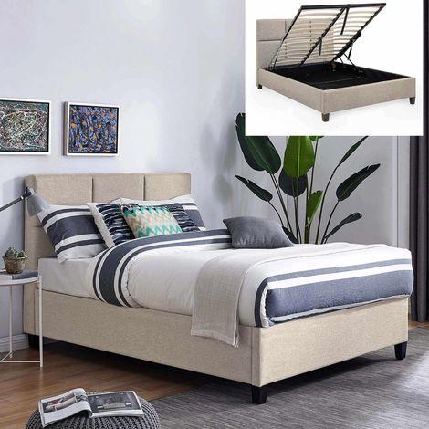 LARA - Lit coffre contemporain en tissu beige avec le sommier relevable 160 x 200 cm