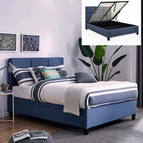 LARA - Lit coffre contemporain en tissu bleu avec le sommier relevable 140 x 190 cm