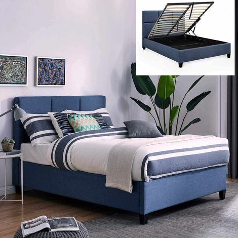 LARA - Lit coffre contemporain en tissu bleu avec le sommier relevable 160 x 200 cm