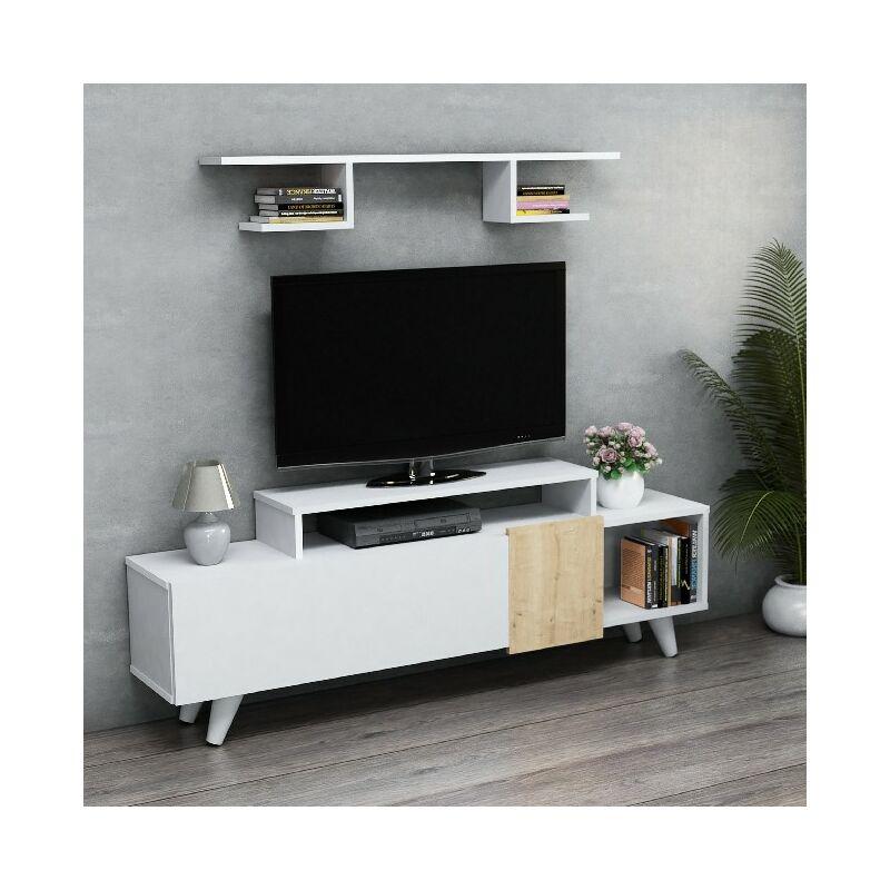 Lara TV-Schrank mit Regal, Tueren, Regalen - aus dem Wohnzimmer - Weiss, Eiche aus Holz, 161 x 29,5 x 58 cm - HOMEMANIA