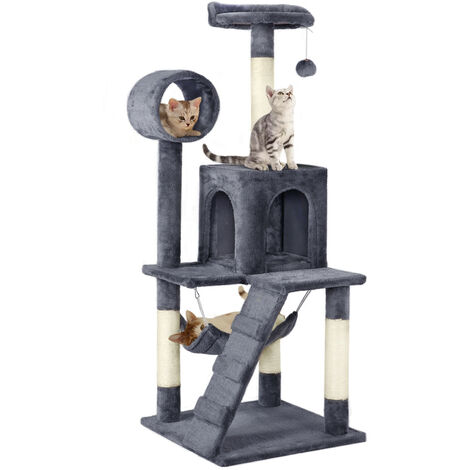 Large 130cm Cat Tree Climbing Tower Scratching Post Activity Centre Dark Grey