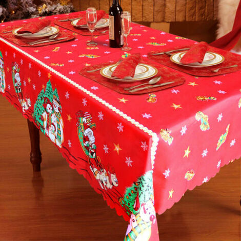 Large 150 x 250cm Santa Christmas Tablecloth Polyester Xmas Desk Cover Happy New Year