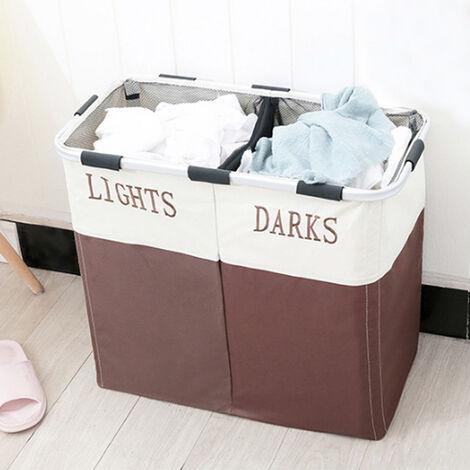 Large 2 Section Aluminium Folding Laundry Basket Washing Hamper Storage Bin Bag Brown
