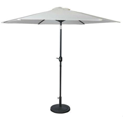 Large 2.7m Round Outdoor Cream Garden Parasol Tilting Umbrella Patio Sunshade