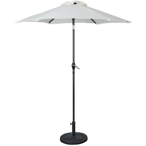 Large 2m Round Outdoor Cream Garden Parasol Tilting Umbrella Patio Sunshade