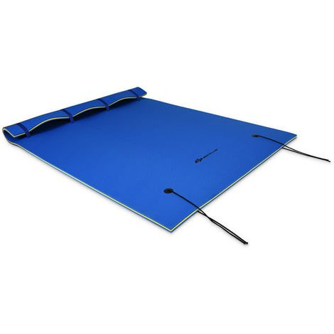 Large 3 Layer Floating Water Mat Pad Lounge Swimming Mat Platform 3-5 Person Use Blue