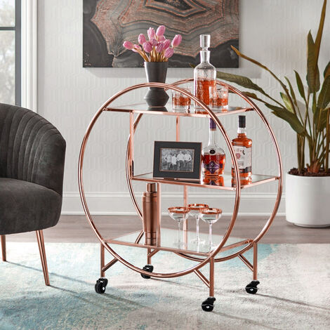 "main image of ""Large 3 Tier Serving Drinks Trolley Cart Shelf Bar Kitchen Storage Display Rack"""