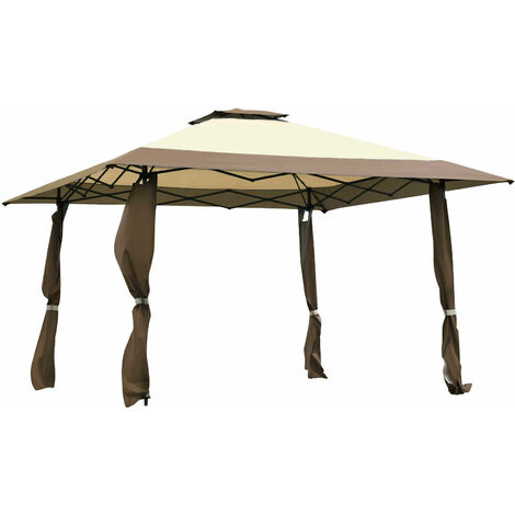 Large 3 x 3m Garden Gazebo Canopy Party Tent Patio Shelter W/ Adjustable Height