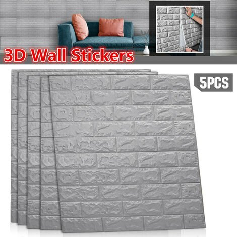Large 3D Tile Brick Wall Sticker Self-adhesive Waterproof Foam Panel Wallpaper(grey)
