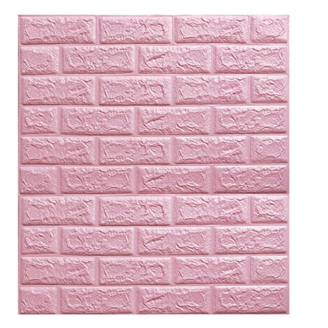 Large 3D Tile Brick Wall Sticker Self-adhesive Waterproof Foam Panel Wallpaper(Pink)