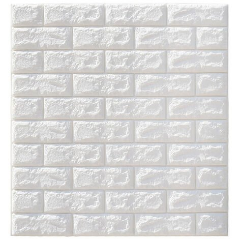 Large 3D Tile Brick Wall Sticker Self-adhesive Waterproof Foam Panel Wallpaper(White)
