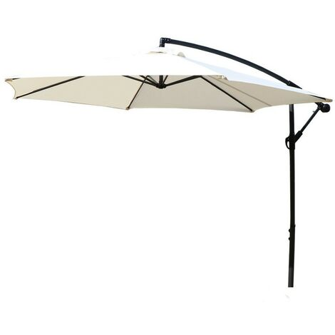Large 3m Outdoor Hanging Cantilever Cream Garden Parasol Umbrella Patio Sunshade