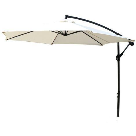 Large 3m Outdoor Hanging Cantilever Grey Garden Parasol Umbrella Patio Sunshade