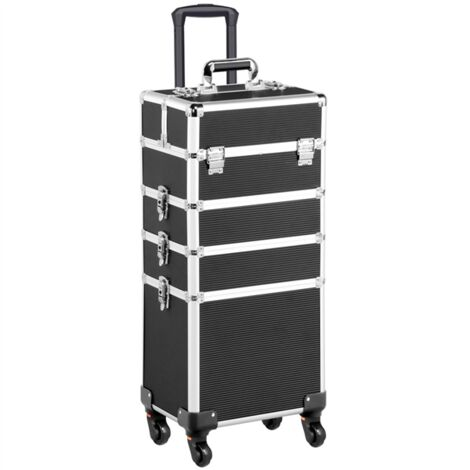 Large 4-in-1 Hairdressing Makeup Vanity Case Beauty Cosmetics Box Trolley Case Black