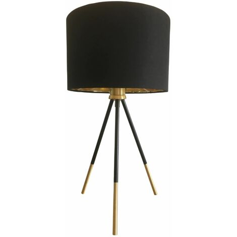 Large 51cm Black Tripod Table Lamp Bedside Light with Metallic Lined Shade