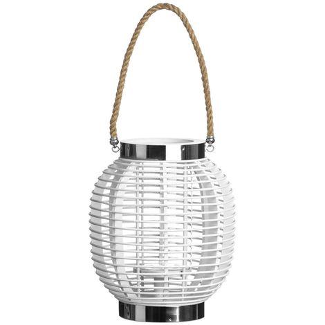 Large Altar Lantern in Stunning White Finish - Wood/Glass/Rope