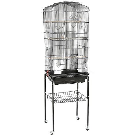 Large Aviary Birds Cage with Wheels for Canaries Parrot Parakeets Canaries with 4 Feeders, 3 Perches, 46 * 35.3 * 150.6cm