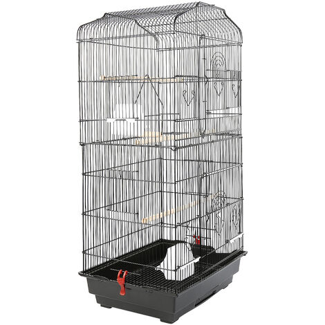 Large Aviary for Birds Meta Cage for Canaries Parrot Parakeets Canaries with 4 Feeders, 3 Perches, 92cm, Black
