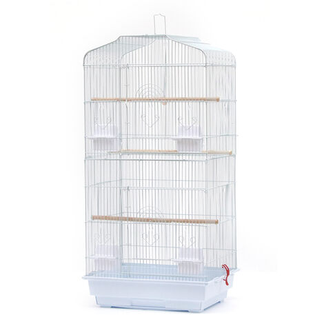Large Aviary for Birds Meta Cage for Canaries Parrot Parakeets Canaries with 4 Feeders, 3 Perches, 92cm, White