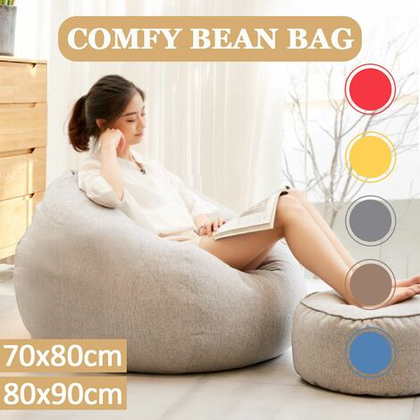 Large Bean Bag Chairs Couch Sofa Cover Indoor Lazy Lounger for Adults 80x90cm Reclining Bean Bag Gaming Chair Indoor Outdoor Extra Large Beanbag Gamer Chair #Midium Size (Lightgrey, Middle)