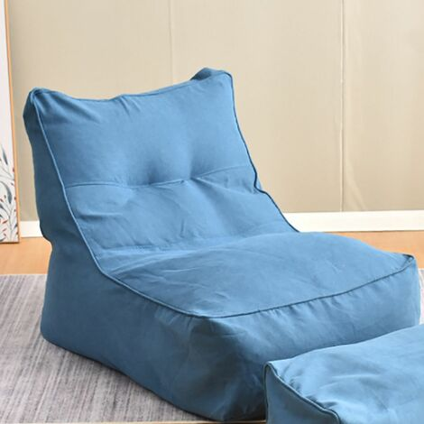 Large Bean Bag High Back Lounger Comfortable Adult Gaming Sofa Cover Large Bean Bag In / Outdoor Garden Beanbag XXXL Waterproof Gaming Bed Chair (Blue, Only Chair Cover)