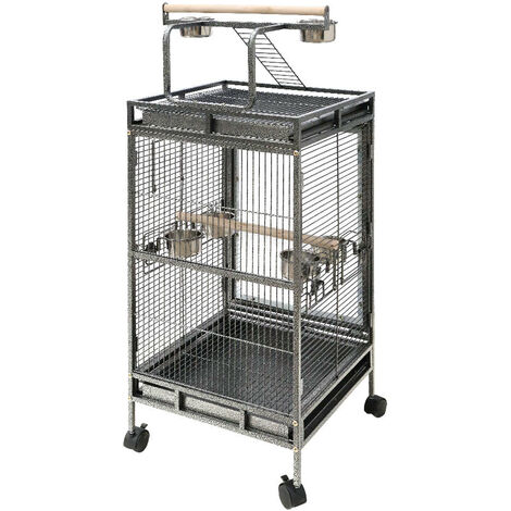 Large Bird Cage Rolling Metal Parrot Lovebird Cage
