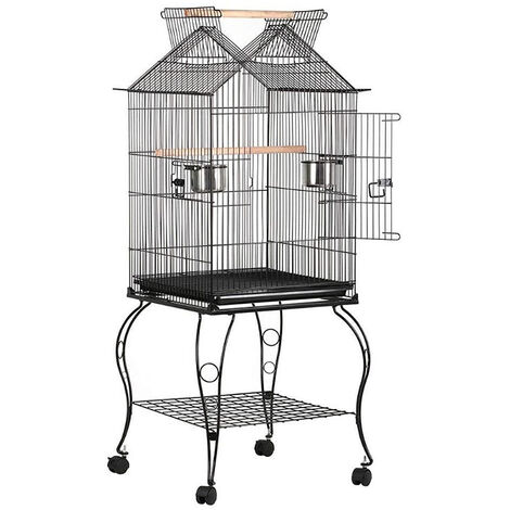 Large Bird Cage with Openable Roof Aviary on Wheels for Canary Islands Parrot Parakeets Cockatiels, 59 * 59 * 145cm, Black