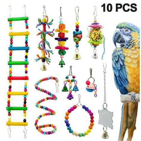 """main image of """"Large Bird Swing Toys, Big Parrots Chewing Natural Wood with Bells Toys for Childhood Macaws Cokatoos, Alexandrine Parakeet, African Grey Parrot and a Variety of Medium Amazon Finch"""""""