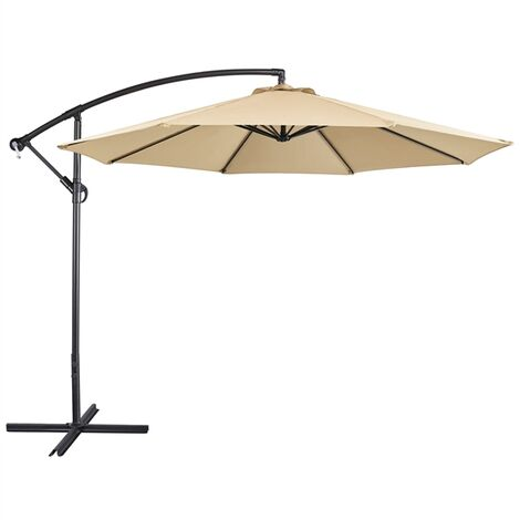 Large Cantilever Parasol Garden Banana Umbrella 10ft Patio Offset Umbrella, with Tilt & Crank Handle & Cross Base, Tan