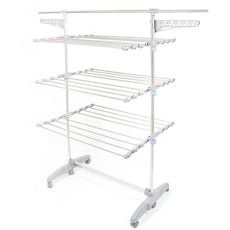 Large Capacity Clothes Rack Drying Rack with 3 Levels Foldable Height 150cm