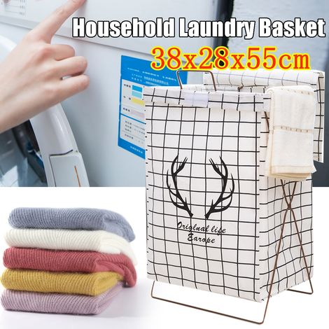 Large Capacity Foldable Washable Laundry Cube Basket Home Household Iron Stand Washing Basket Container Multifunction Cotton Linen 38X28X55 Cm