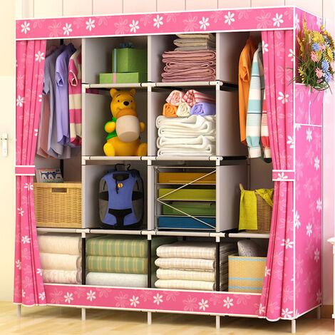 Large Capacity Folding Cloth Wardrobe Bedroom Storage Organizer 170x167x45cm