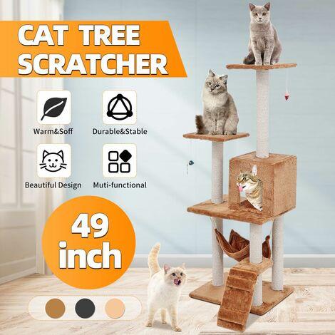 Large Cat Tree Cat Scraper Climbing Tower Activity Center Scraper (Tan, Brown)