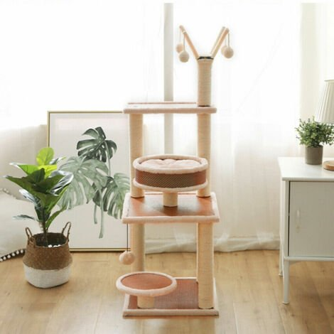 Large Cat Tree Kitten Scratching Post Activity Centre Climbing Scratcher Top High