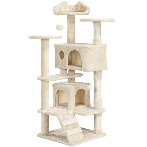 Large Cat Tree Tower Cat Activity Centre for Kittens/Adult Cats, 138cm Cat Scratching Post with Perch/2 Condos/Dangling Toy, Beige