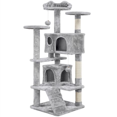 Large Cat Tree Tower Kitten Condos for 2-3 Cats, Multi-level Cat Scratching Post Climbing Stand with 2 Condos/Soft Perch/Toy, Light Grey