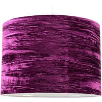 Large Ceiling Table Lamp Drum Light Shade Purple Crushed Velvet Finish