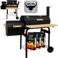 Large Charcoal Barrel Grill Smoker King BBQ Barbecue Trolley