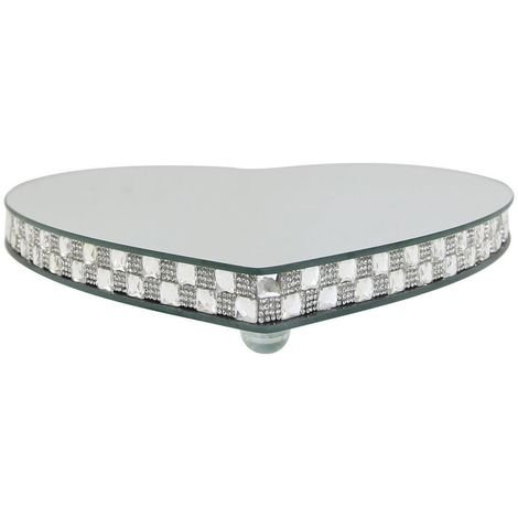 Large Chequered Silver Mirror Heart Candle Plate With Feet - Big Living