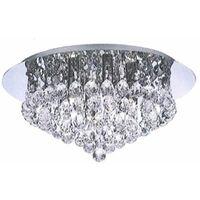Large Chrome & Genuine K9 Lead Crystal Jewel Droplet Flush Ceiling Light Fitting