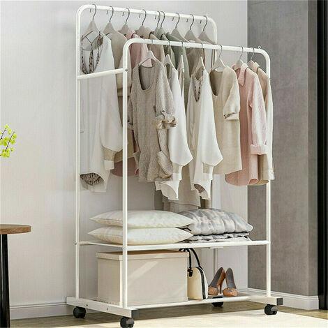 Large Clothes Double Rail Rack Garment Hanging Organizer Coat Storage Shelf 1.5M