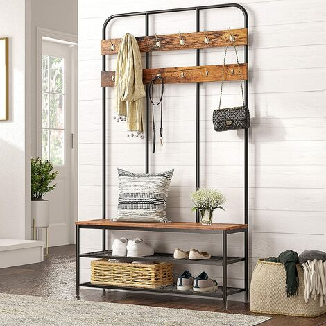 """main image of """"Large Coat Rack Stand, Hall Tree with 12 Hooks and Shoe Bench, 100 x 35.5 x 182 cm, Pipe Style Coat Tree in Industrial Designs, Multifunctional Entryway Storage Shelf, HOOBRO EBF05MT01 - Rustic Brown"""""""